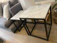 Marble Coffee Tables / Side Tables with Black Stainless Steel Legs