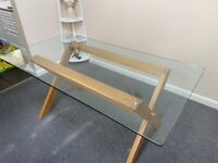 Rectangular Glass and Oak Dining Table