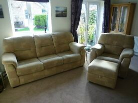 Matching 3 seater sofa, armchair and storage footstool from DFS in good condition