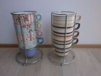 2 Sets of M&S Mugs in Stainless Steel Holders