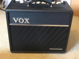 VOX VT20+ amp with leads, tuner and pedal
