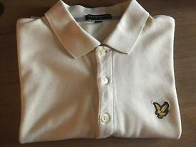 Lyle and Scott Vintage Polo Shirt Medium in Pale Yellow