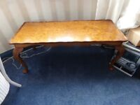 walnut coffee table with cabriole legs