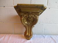 LARGE GOLD PAINTED PLASTER ARCHITECTURAL SCROLL WALL SCONCE WALL SHELF FREE DELIVERY