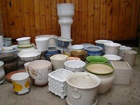 Selection of 54 flower pots.