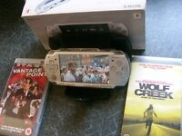 SONY PSP - GAMES CONSOLE - ICE SILVER - PLUS MOVIES + CHARGER + WALLET