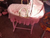 Beautiful moses basket and stand