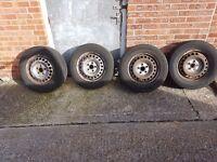 Set of t5 steel wheels 5 120 good tyres