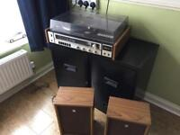 Sanyo vinyl player. Record player. With speakers