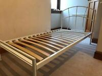 Single metal bed frame.