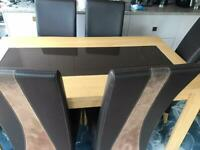 Wooden Dining Table With glass panel and 4 chairs