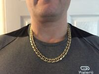 Mans 9ct gold 69 grams curbed style chain fully hallmarked