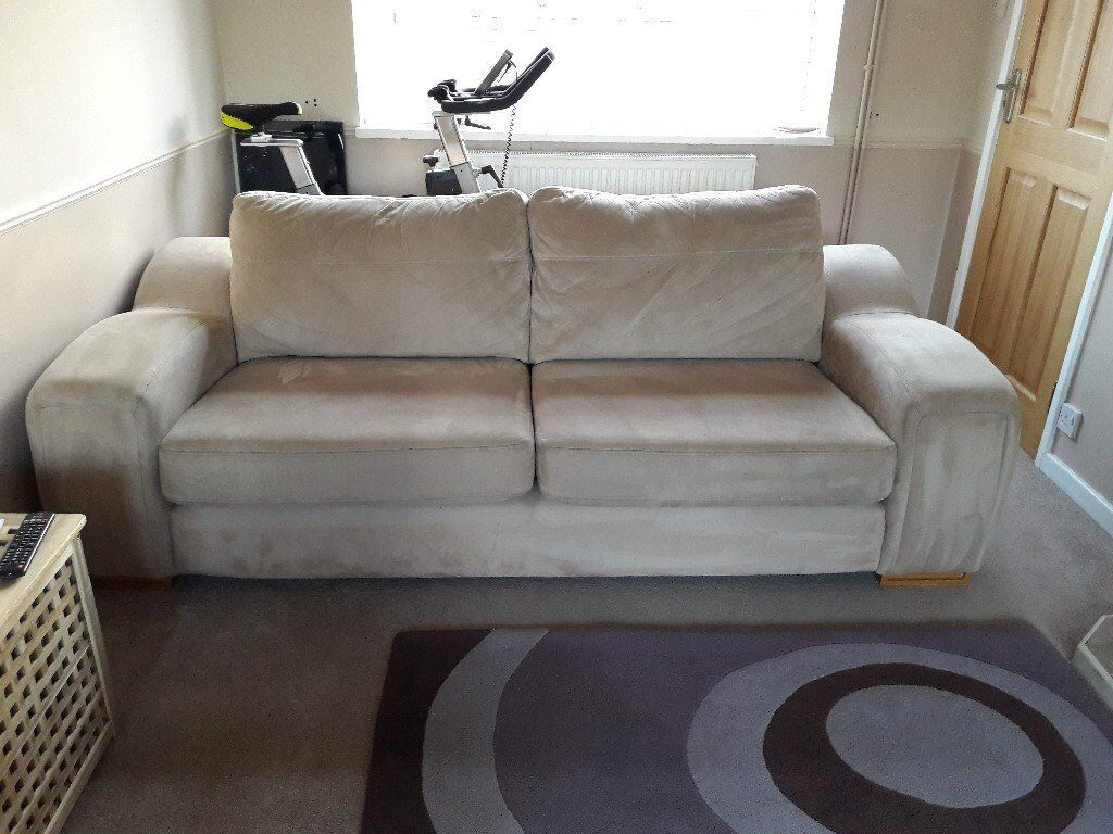 3 Seater SCS Suede Sofa and Arm Chair in Good Condition ...