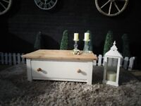 SOLID PINE FARMHOUSE COFFEE TABLE WITH A LARGE AND DEEP DRAWER PAINTED WITH LAURA ASHLEY CREAM COLOR