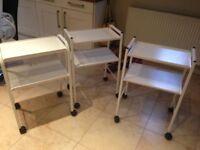 2 small medical equipment trolleys