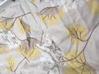 Beautiful double lined curtain for sale. Mustard/beige/white/cream patterned