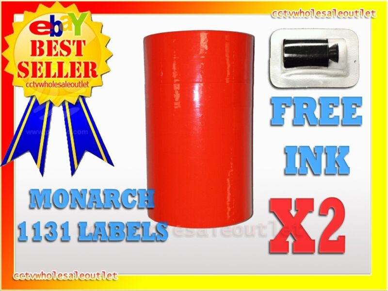 2 SLEEVES FLUORESCENT RED LABELS FOR MONARCH 1131 PRICING GUN 2 SLEEVES=16ROLLS