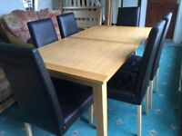 Beech table with 6 chairs