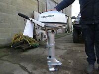 Honda BF5LU Longshaft outboard engine 2016 with cockpit control unit, remote fuel tank, toolkit etc.