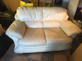 3 Cream leather sofas