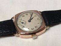 Vintage solid 9k 9ct rose gold cushion watch (mens watch) REDUCED