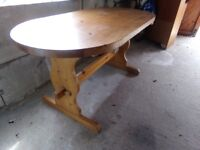 VERY NICE VERY HEAVY OVAL PINE TABLE FOR SALE .