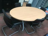 Oval Beech Conference Desk & 6 Chairs