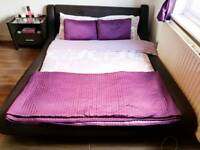 KING SIZE BROWN FAUX LEATHER BED WITH MATTRESS CAN BE DELIVERED