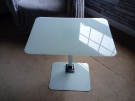 Laptop/side table, opaque glass and chrome