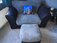 Corner sofa, snuggle chair and foot stool