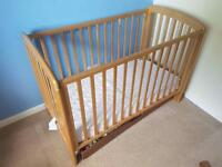 Pine cot with mattress and under drawer