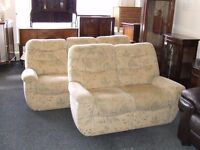 G Plan three seat and two seat light patterned suite
