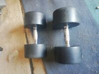 Cast Iron and rubber dumbells