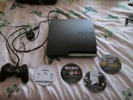 PS3 CECH- 250 3A 160 GB CONSOLE + 4 GAMES + CONTROLLER