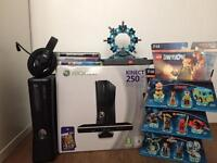 XBOX 360 KINECT 250GB Console with 2x controllers, Headset and Games