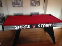 POOL TABLE, BALLS AND CUES