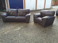 3 seater brown leather sofa, armchair & footrest