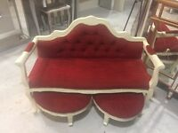 Red velvet chair /chaise 2 seater and 2 stools Cookstown area