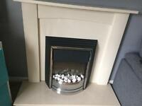 Fire surround and electric fire and marble base
