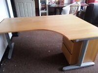 IKEA oak veneer corner desk, large