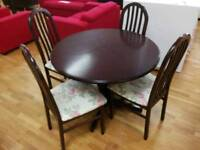 Extendable dining table with 4 chairs floral fabric seat