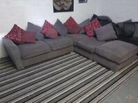 SCS GREY FABRIC CORNER SOFA + FOOTSTOOL LIKE NEW