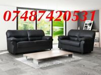 LUXURY BLACK 3+2 CANDY LEATHER SOFA £349