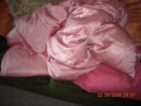 Vintage pink feather quilt