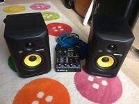 Rokit KRK 5 G3 Monitors, Alesis MultiMix 4 Audio interface, and cables bundle! (Speakers)