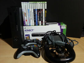 Xbox 360 with Kinect, Wireless Speed Wheel, 2 Controllers + 13 Games