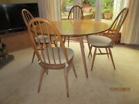 Ercol folding table and 4 chairs