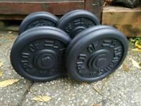 Commercial fixed cast iron dumbbells 2 x 20 kg