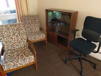 FREE pair of Lounge chairs/ Glass display unit & Swivel desk chair