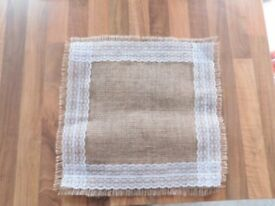 Hessian Lace Square